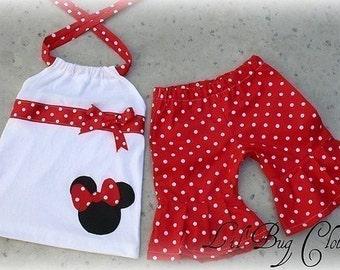 Custom Boutqiue Minnie Mouse Short Set size 12 18 24 2t 3t 4t 5t 6 7