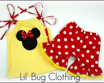 Custom Boutique Clothing Yellow and Red Minnie Mouse Short and Top