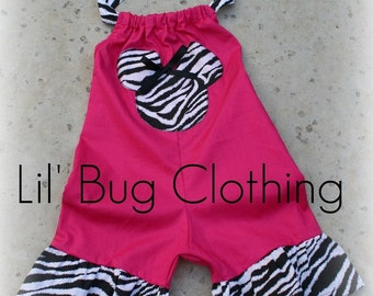 Custom Boutique Minnie zebra shocking pink shortall size 12 18 24 2t 3t 4t 5t girl