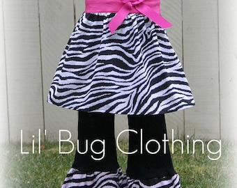 Custom Boutique Zebra and Hot Pink Jumper  Top and Pant Set Girl Pageant  Outfit