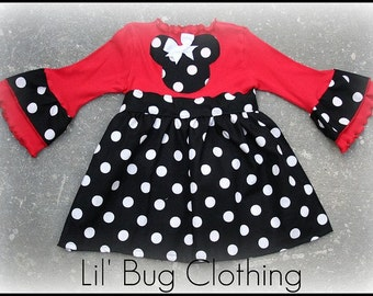 Minnie Mouse Black White Dot Red Comfy Knit Dress Size 12 18 24 2t 3t 4t 5t 6 7 girl