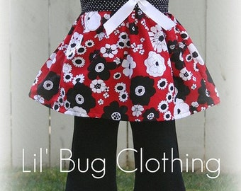 Custom Boutique Clothing Red Black White Floral Spring  Jumper Top and Pant Set