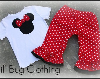 Custom Boutique Clothing Red Minnie Mouse Capri Tee Girl