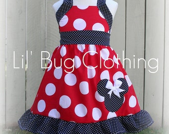 Custom Boutique Clothing Minnie Mouse Jumbo Dot Red Black Halter Swing Dress