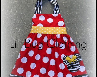 Custom Boutique Clothing Red White Dot  Zebra Yellow Minnie Mouse Halter Dress Disney