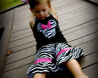 Custom Boutique Clothing Minnie Mouse Zebra and Pink Short and Halter Top