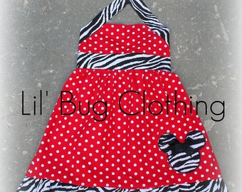 Custom Boutique Clothing Red Polka Dot and  Zebra  Minnie Mouse Halter Dress