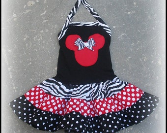 Minnie Mouse Tiered Zebra Red and Black Dot Halter Dress