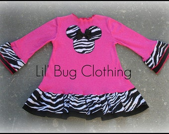Custom Boutique Knit zebra  Minnie Mouse Pink Dress 12 18 24 2t 3t 4t 5t 6 7 girl