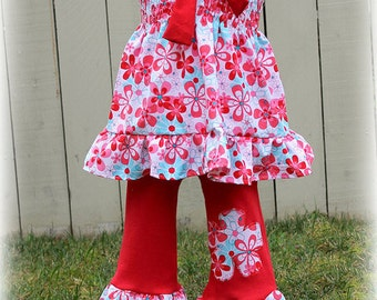 Custom Boutique Clothing Summer Spring Teal and Red Floral Smocked Top and Pant
