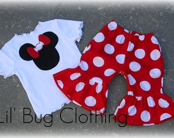Custom Boutique Clothing White Red Jumbo Dot Minnie Mouse Short and Tee Set