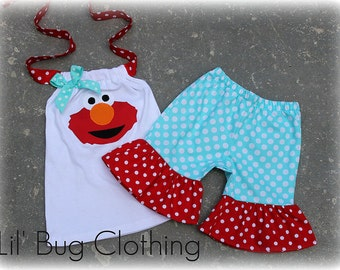 Elmo Polka Dot Teal and Red Short and Halter Top Spring Summer  Set Birthday Girl Bow