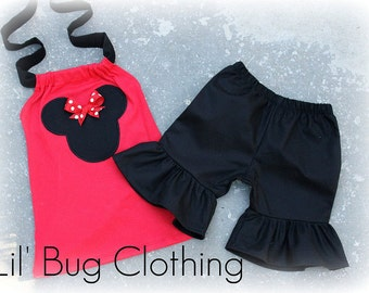 Red and Black Red White Dot Bow Minnie Mouse Short and Halter Top