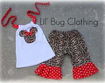 Custom Boutique Leopard Disney Minnie Mouse Capri and Halter Top