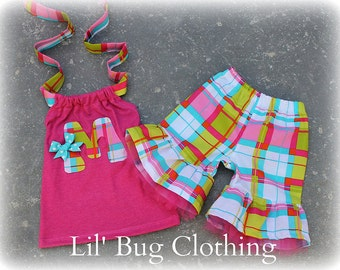 Custom Boutique Clothing Summer Plaid Initial Bow Tulle and Halter Top