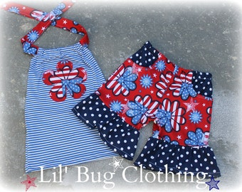 4th Of July Girls Outfit, 4th Of July Girls Short & Top Outfit, 4th Of July Girls Birthday Outfit, Girls 4th Of July Clothing,