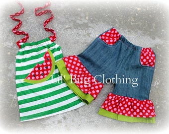Custom Boutique Green Stripes  Watermelon Summer Pocket Denim Shorts and Halter Top Girl Outfit