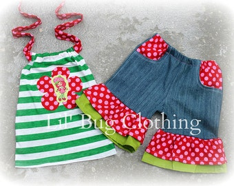 Strawberry Shortcake Outfit, Strawberry Shortcake Short & Halter Top Outfit, Strawberry Shortcake Summer Birthday Girl Outfit