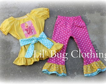Custom Boutique Clothing Sleeping Beauty  Birthday Peasant Top and Pant