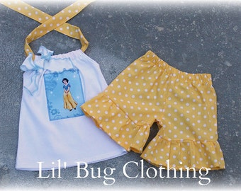 Custom Boutique Clothing Snow White Short and Halter Top Tulle Polka Dot Set