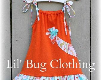 Giraffe Orange Knit Dress, Giraffe Zoo Dress, Girls Giraffe Outfit, Boutique Girl Clothes