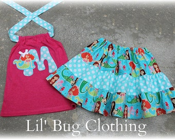 Custom Boutique Tiered Mermaid Skirt and Halter Top Personalized