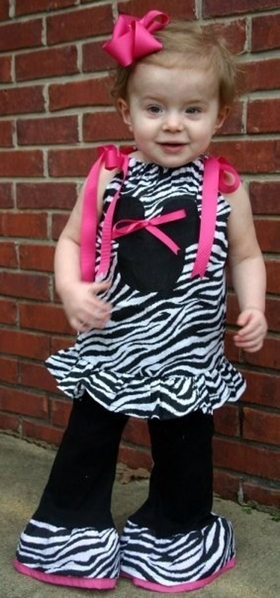 Custom Boutique Zebra Minnie Fall Winter Outfit size 6 girl Pant Top