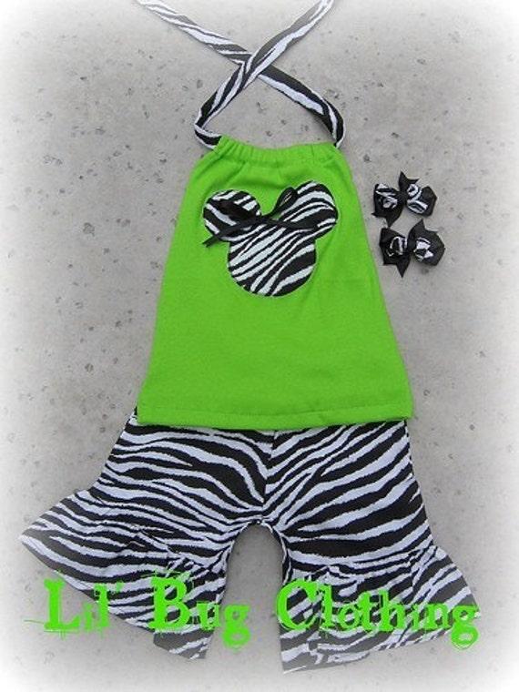 Custom Boutique Lime minnie mouse short halter set Bows size 12 18 24 2t 3t 4t 5t 67 girl