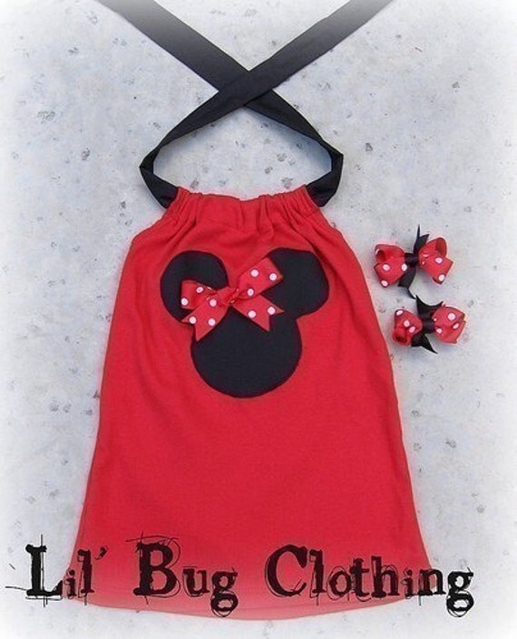 Custom Boutique Minnie Mouse Red Minnie Halter Top with 2 pair bows 12 18 24 2t 3t 4t 5t 6 girl