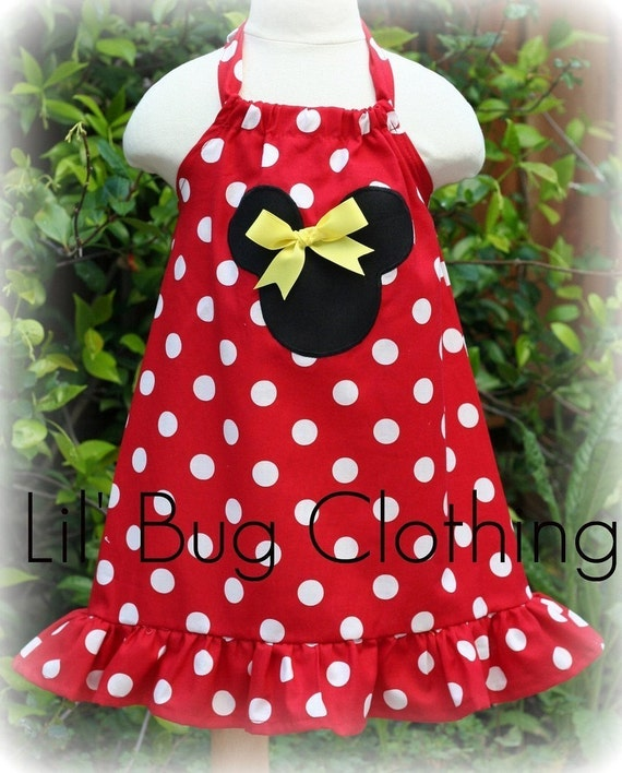 Custom Boutique Clothing Red White Dot Minnie Mouse Halter  Dress 12 18 24 2t 3t 5t 6 7 girl