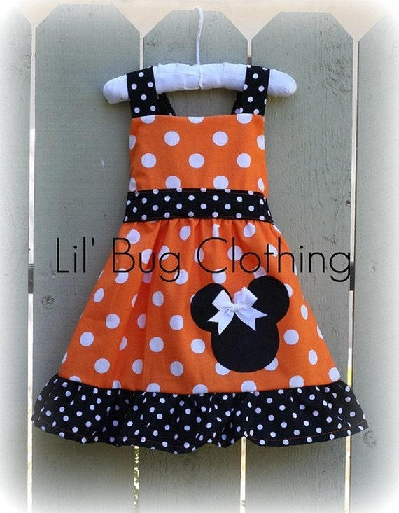 Custom Boutique Clothing Orange Minnie Mouse Halloween Jumper Dress