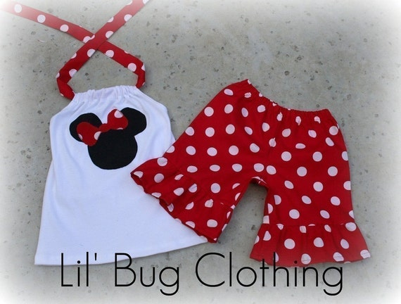 5t, 5t ONLY on SALE NOW Custom Boutique Clothing Bubble Gum Dots Red  Minnie Mouse Short Set