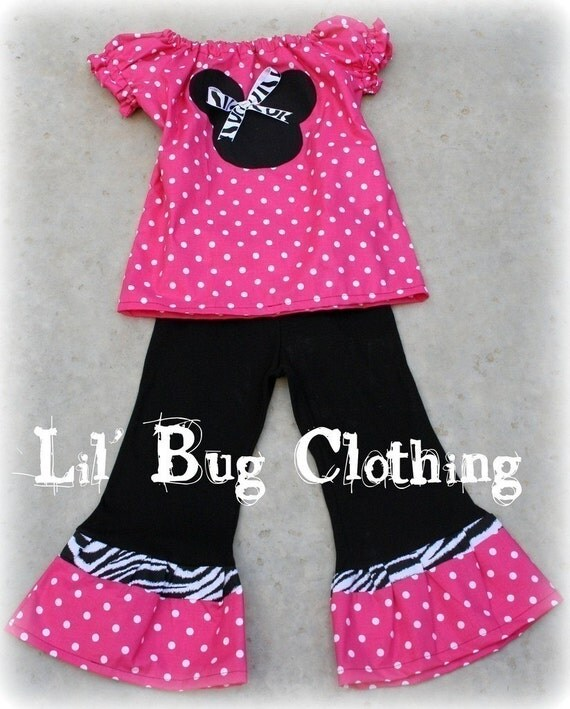 4T ON CLEARANCE Custom Boutique Pink Minnie Mouse Polka Dot Zebra Peasant Pant Set