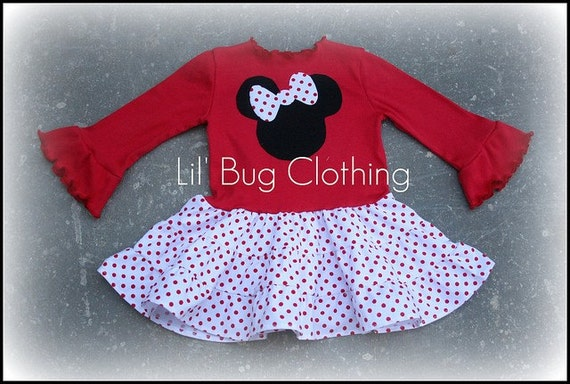 Custom Boutique Clothing Pepperment Red Dot Minnie Mouse Tiered Dress