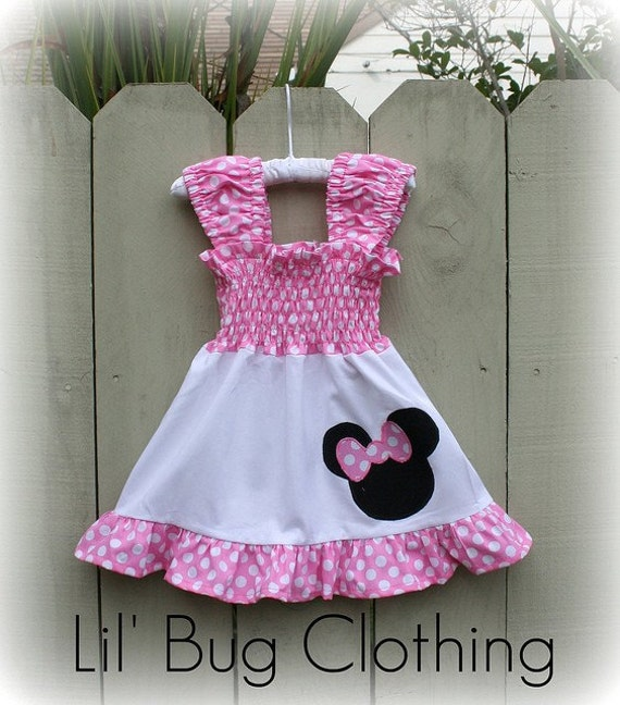 Custom Boutique Clothing White and Pink Dot Minnie Mouse Dress