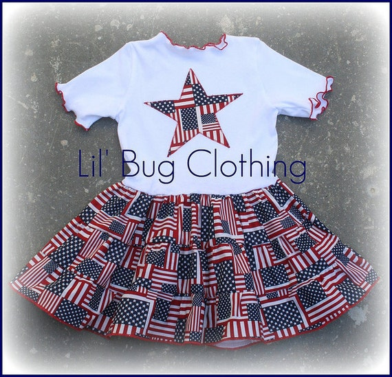 4th of July Custom Boutique Clothing Red White Blue Flag Tiered Dress