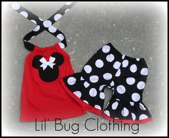 Custom Boutique Clothing Black White Red Jumbo Dot Minnie Mouse Short Halter Outfit