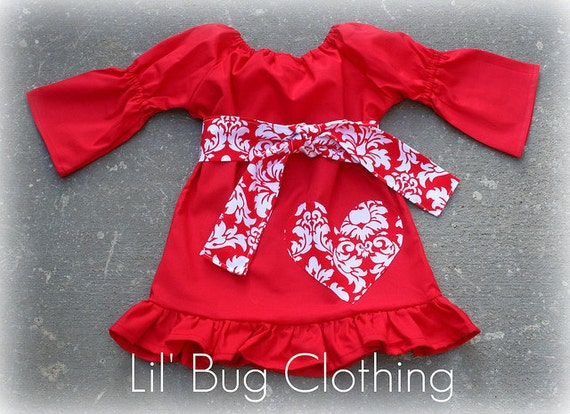 Valentines Day Peasant Dress Girl Red & White Damask Heart