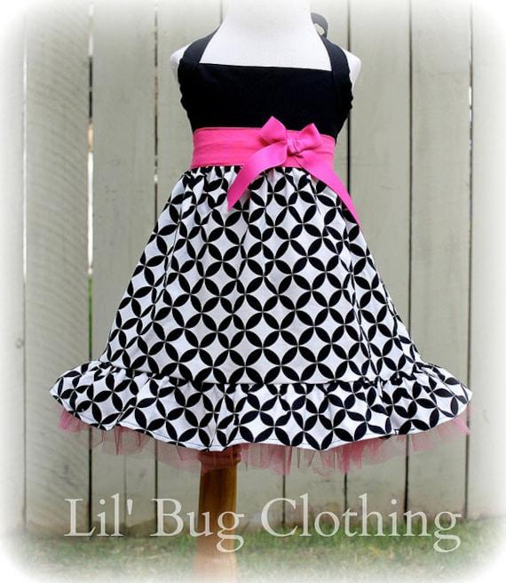Custom Boutique Clothing Girls Black White Diamond Sash Bow Jumper Dress