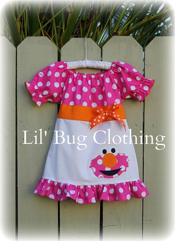 Custom Boutique Clothing Elmo Sesame Street Summer Peasant Dress Birthday Girl