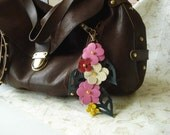 Floral Handbag Charm Keyring Leather