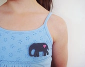 Grey Leather Elephant Brooch with Pink Heart