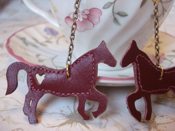 Horse Earrings Red Leather