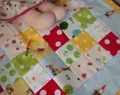 Waldorf Doll Play Quilt, mushrooms, gnomes, polka dots, squirrels, quilt no.23