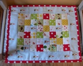 Waldorf Doll Play Quilt, mushrooms, gnomes, polka dots, hedgehogs, quilt no.24