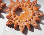 El Barro Terra Cotta Sun Moon Focal Beads, Jewelry Finding, Supplies