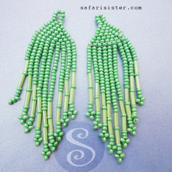 NEW Chalk Greens Peyote Stitch Fringe Earrings, Findings, Jewelry Findings, Supplies