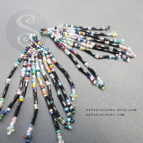 NEW Black Confetti Peyote Stitch Fringe Earring Components, Findings, Jewelry Findings, Supplies