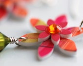 Earrings Funky Colorful Handpainted Flowers and Sterling Silver - Flower Child