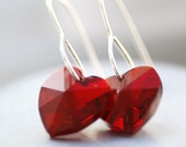 Ruby Red Crystal Earrings, Swarovski Heart Crystals and Sterling Silver - Cherish